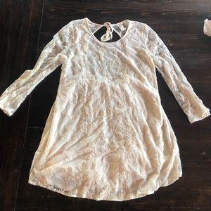Cream sheer patterned shift long sleeve dress